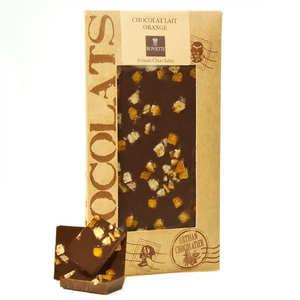Bovetti chocolats - Milk chocolate with orange peel - chocolate bar