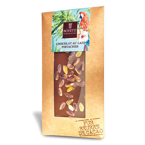 Bovetti chocolats - Milk chocolate with pistachio - chocolate bar