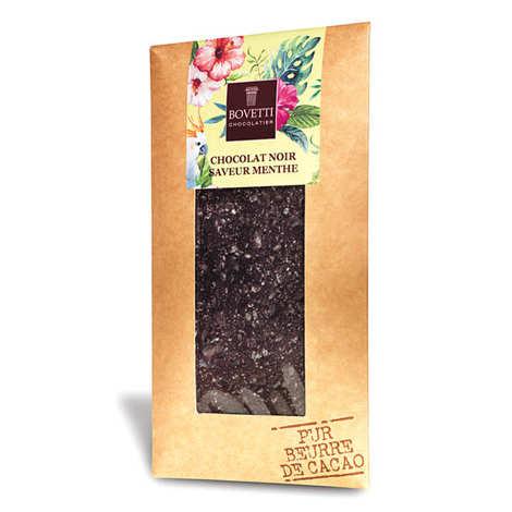 Bovetti chocolats - Plain chocolate with  mint - chocolate bar