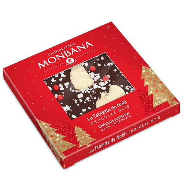 tablette de no l chocolat noir et d cor chocolat blanc monbana chocolatier. Black Bedroom Furniture Sets. Home Design Ideas