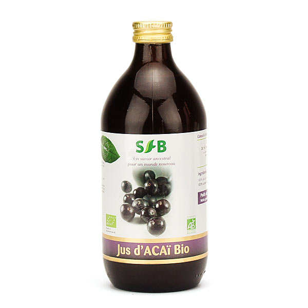 Organic Acai juice bottle
