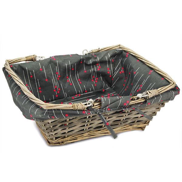 Grey rectangular wicker basket with printed fabric lining
