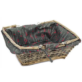 - Grey rectangular wicker basket with printed fabric lining