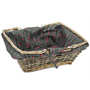 Grey rectangular wicker basket with printed fabric lining