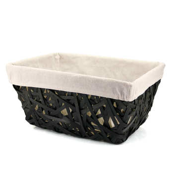 - Large black wicker basket with beige fabric lining