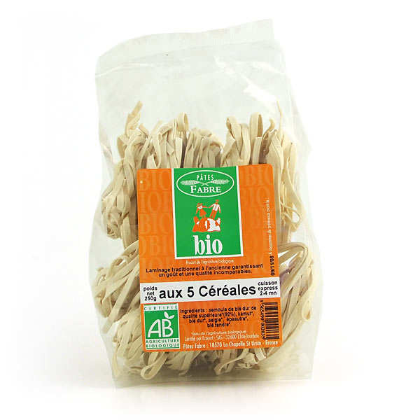 Organic pasta made with five cereals