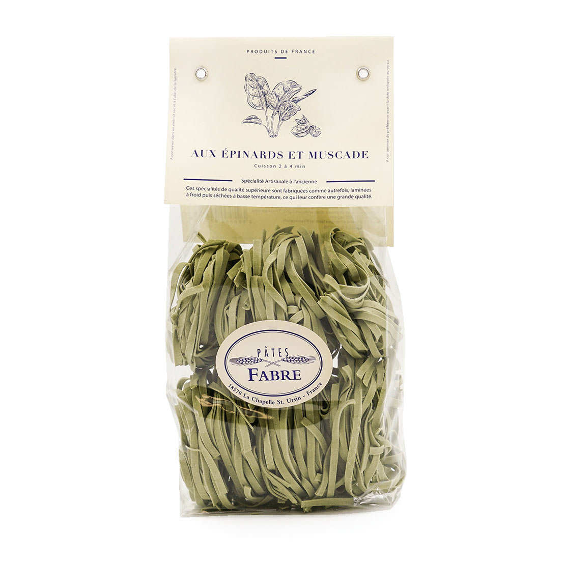Spinach and nutmeg flavoured pasta