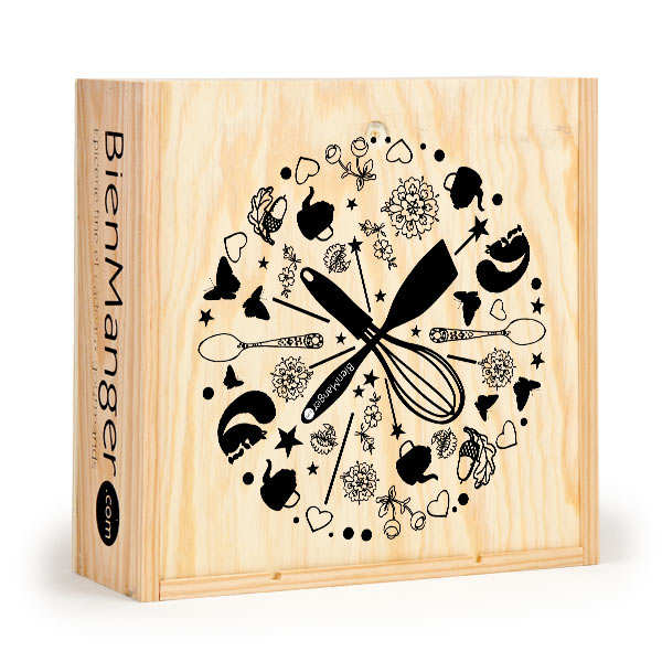 Decorated Square wooden box with sliding lid