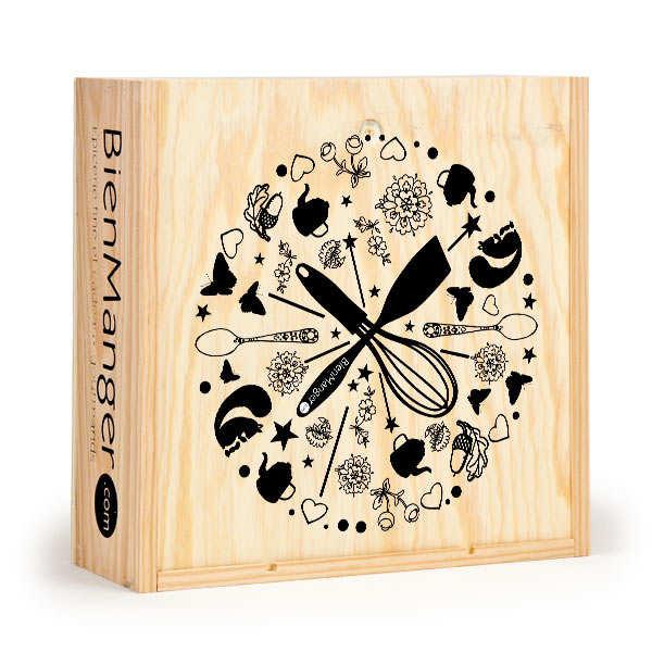 Caisse bois carrée décorée à glissière compartimentée