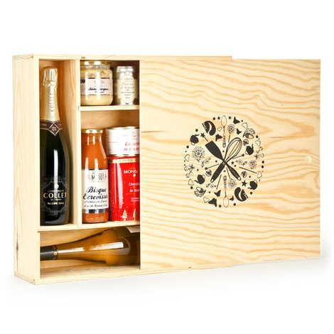 Les Ateliers de la Colagne - Grande caisse bois carrée décorée à glissière compartimentée