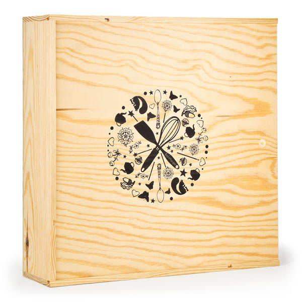 Grande caisse bois carrée décorée à glissière compartimentée