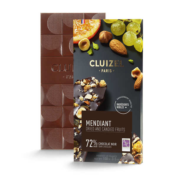 Tablette chocolat noir 72% aux fruits secs (mendiant)
