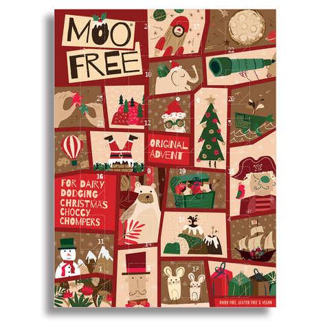 Moo Free - Calendrier de l'avent chocolats au lait vegan sans lactose et sans gluten