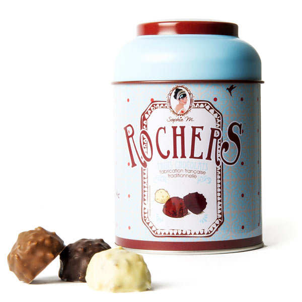 "Three Chocolate ""Rocher"" Assortment in a Tin"