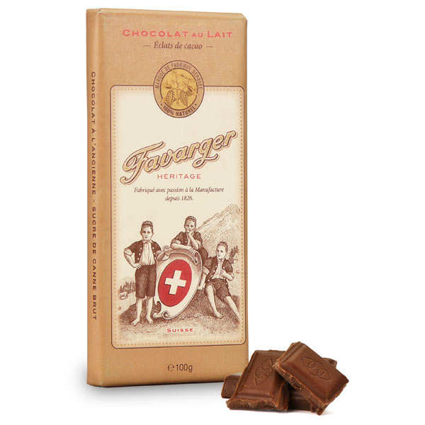 Milk Chocolate & Cocoa Nibs Bar - Favarger