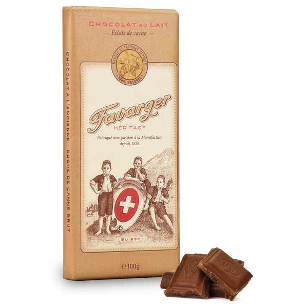 Tablette de chocolat suisse au lait et éclats de cacao