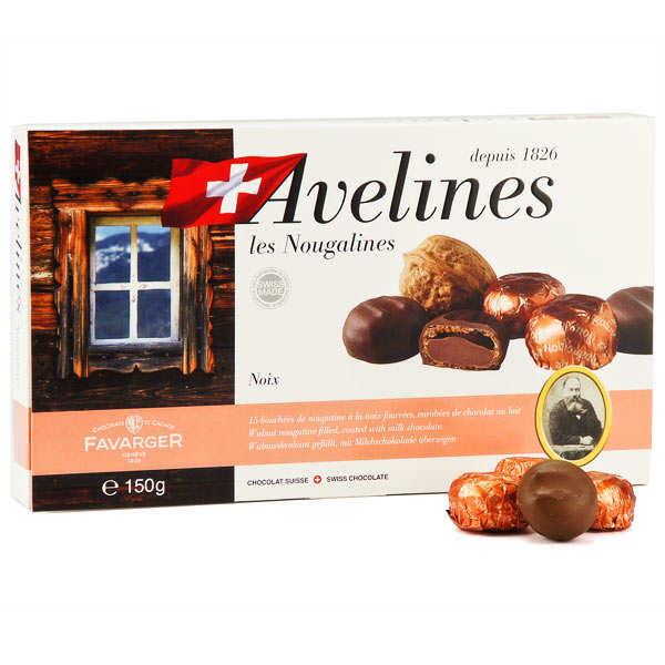 Boîte de 15 Nougalines noix et chocolat - spécialité Suisse