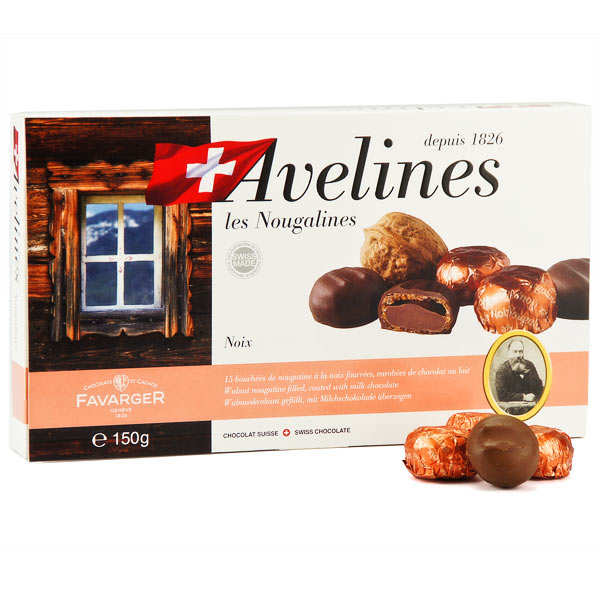 15 Nougalines Box - Swiss Chocolate Walnut Pralines by Favarger