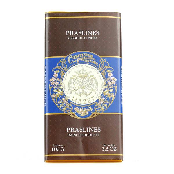 Tablette de chocolat noir aux praslines Mazet