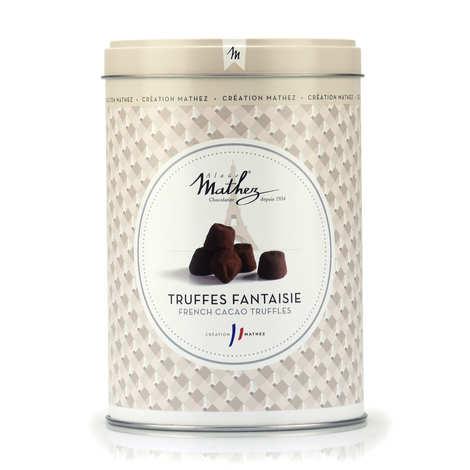Chocolat Mathez - Truffes en chocolat fantaisie nature en boite fer vintage