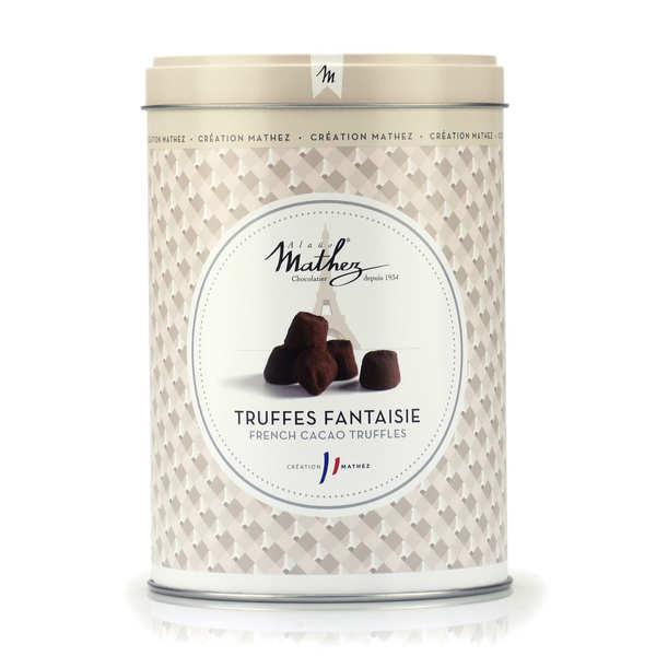 Truffes en chocolat fantaisie nature en boite fer vintage