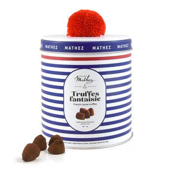 Chocolat Mathez - Chocolate Truffles with Salted Toffee in Navy Tin Box