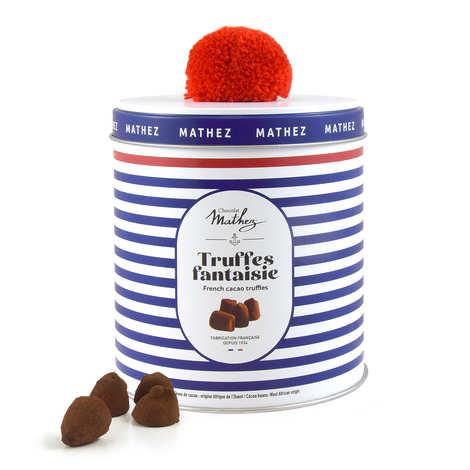 Chocolat Mathez - Truffe fantaisie aux éclats de caramel au beurre salé avec arôme naturel en boite métal