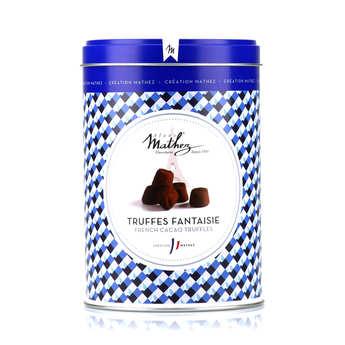 Chocolat Mathez - Truffes fantaisie crêpes dentelles en boite fer vintage