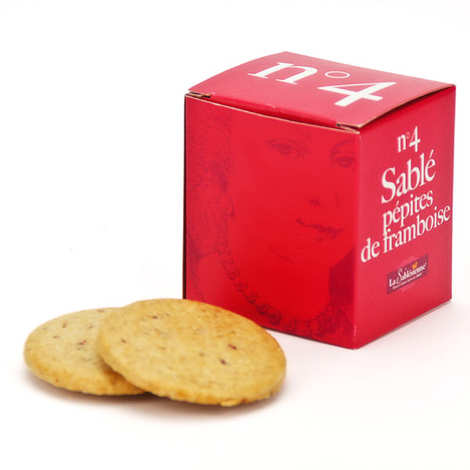 Biscuiterie La Sablésienne - Le cube n°4 sablé de Sarthe pépites de framboise