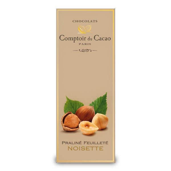 Tablette praliné feuilleté à la noisette - comptoir du cacao