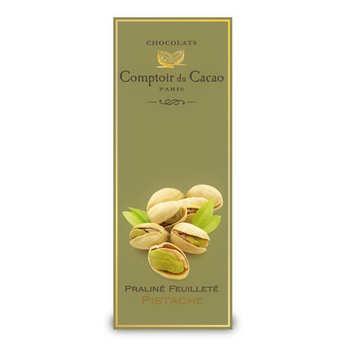 Comptoir du cacao - Tablette praliné feuilleté à la pistache - comptoir du cacao