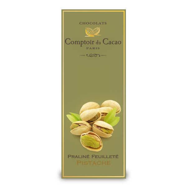 Tablette praliné feuilleté à la pistache - comptoir du cacao