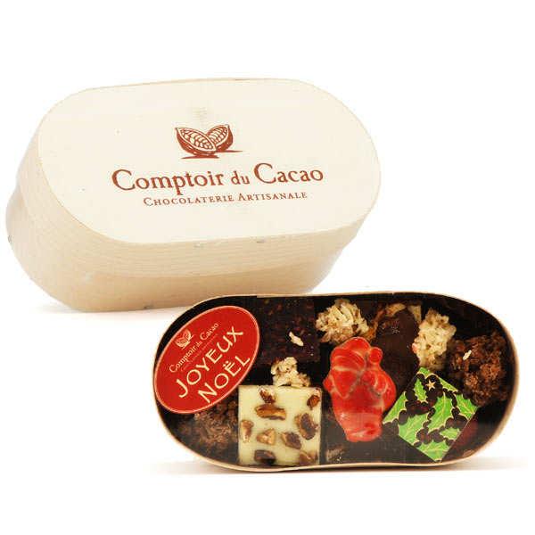 Christmas box with chocolat and praliné selection - comptoir du cacao
