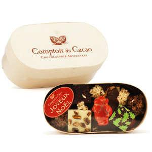 Comptoir du cacao - Boite bois assortiment de chocolats pralinés