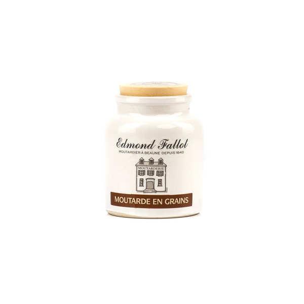 Grain mustard in an earthenware jar