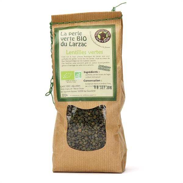Organic green Larzac lentils