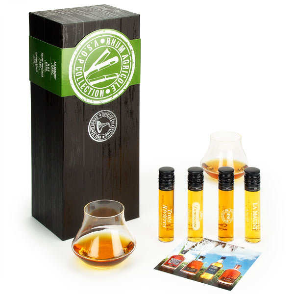 VSOP rums gift box - 4 tubes + 2 glasses