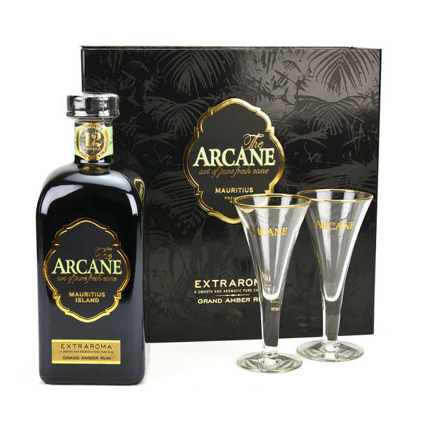 Arcane Extraroma Mauritian Dark Rum in 2 glasses gift box