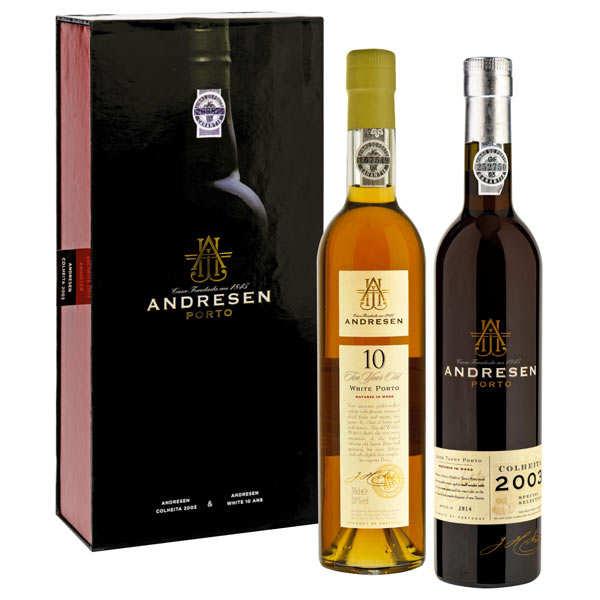 Coffret Porto Andresen 2 bouteilles (white 10ans+ Colheita 2003)