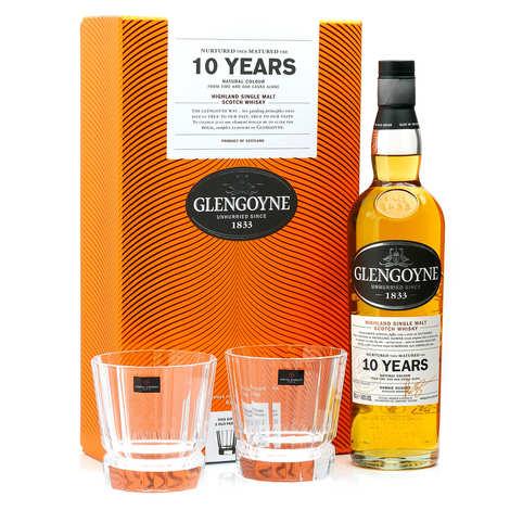Glengoyne - Whisky Glengoyne 10 ans single malt coffret 2 verres old fashioned 40%