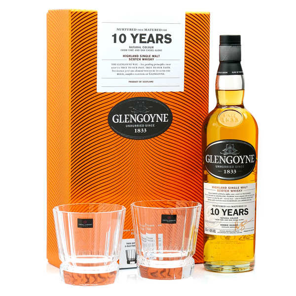 Whisky Glengoyne 10 ans single malt coffret 2 verres 40%