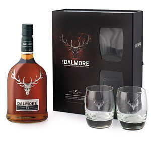 Dalmore - Dalmore 15 ans - single malt whisky - coffret 2 verres - 40%