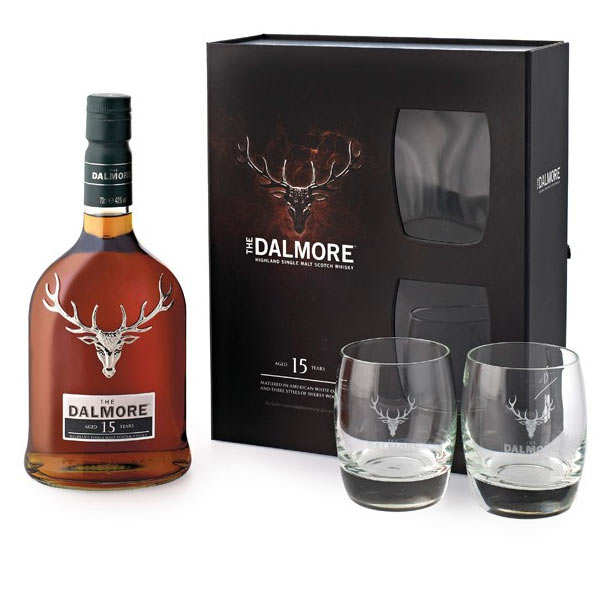 dalmore 15 ans single malt whisky coffret 2 verres 40 dalmore. Black Bedroom Furniture Sets. Home Design Ideas