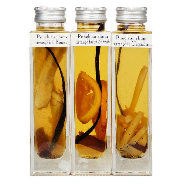Coffret de 3 punchs au rhum arrangé (orange, banane, gingembre) 18%