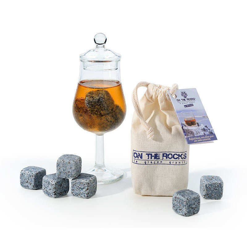 Tasting Glass & Blue Granite Whisky Ice Cubes from Brittany