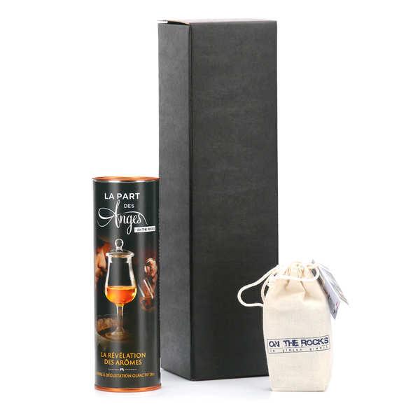 Verre dégustation spécial whisky et 8 glaçons granit de Bretagne