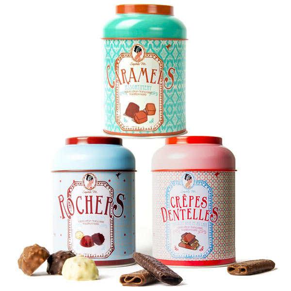 Lot boites métal gourmandises (cookies, rochers chocolat, caramels)