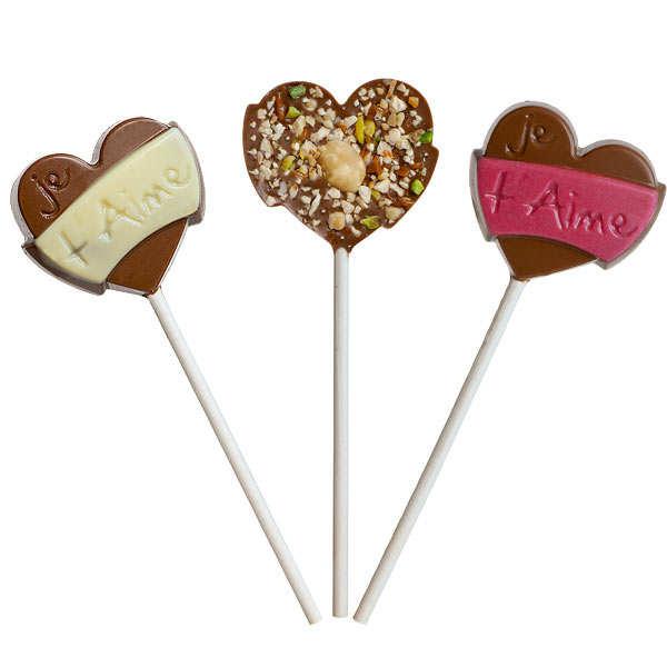 Sucette coeur au chocolat et fruits secs