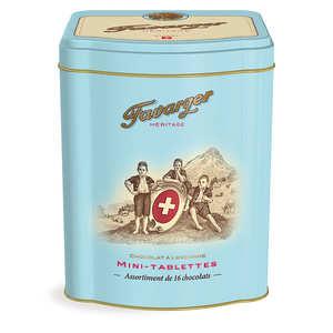 Favarger - Boite métal 16 mini-tablettes de chocolat - spécialité Suisse
