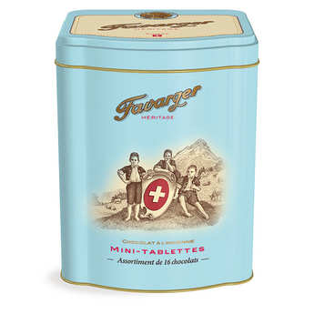 Favarger - Metal box - 16 mini chocolate bars - swiss specialty